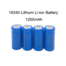 MJKAA 4pcs/lot 1200mAh Lithium Li-ion 16340 Battery CR123A Rechargeable Batteries 3.7V CR123 for Laser Pen LED Flashlight стоимость