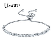 UMODE 2018 New Fashion Bracelets for Women Round Zircon Crystal White Gold Box Chain Bracelet Jewelry Accessories AUB0129