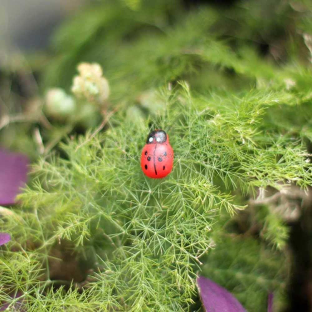 10Pcs Mini Ladybird Merah Kumbang Kepik Peri Rumah Boneka Ornamen Dekorasi Taman