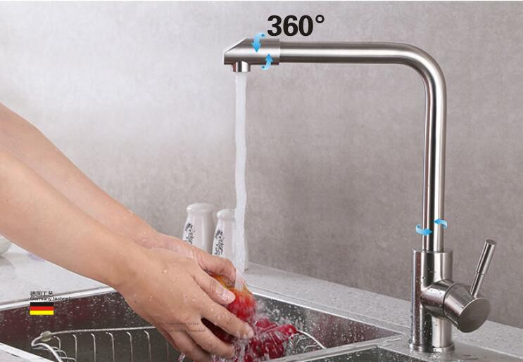 304 stainless steel kitchen faucet hot and cold water Brushed faucet Vegetables dish taps sink rotary swivel Unleaded mixer kitchen sink faucet single lever hot and cold torneira nano stainless steel modern faucet 720dergree swivel mixer sink water tap