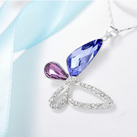 100% 925 Sterling Silver Fashion Blue Purple Butterfly Necklace Women Crystal Necklace & Pendants Luxury Charm