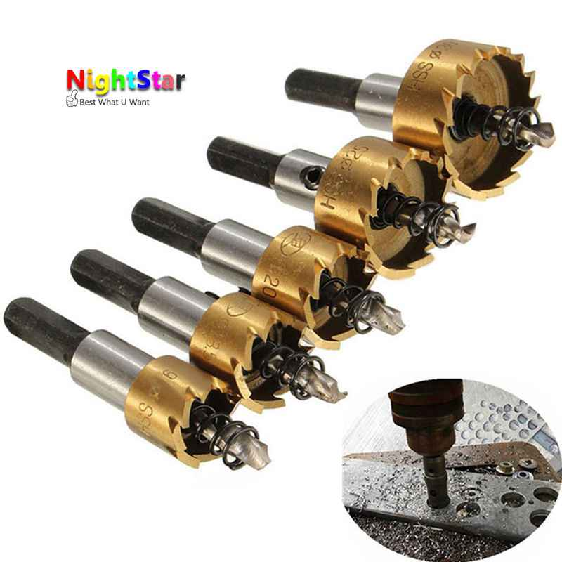 5Pcs HSS Drill Bit Hole Saw Set Stainless Steel Metal Alloy 16 18.5 20 25 30mm new arrival 5pcs set hss drill bit hole saw set stainless steel metal alloy cutter 16 30mm wholesale price