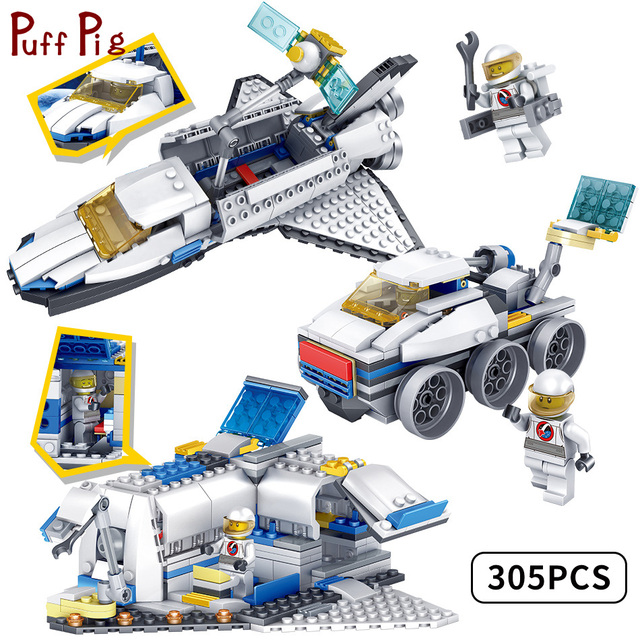 163c6af179ff87 305pcs 3 in1 Space Base Spacecraft Plane Vehicle Building Block Compatible  Legoed City Figures Brick Education Toys For Children