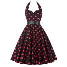 bc463172e33 Polka Dot Rockabilly Dress Robe Femme Ete 2018 Strapless 1950s 60s Robe  Vintage Vestidos Pin Up Big Swing Women Summer Dress
