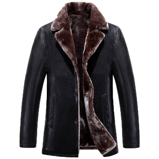 2016 The new Fashion Warm and comfortableMen PU Leather Jacket Men Thick Soft fur collar PU Leather Jacket Down Winter Men 220