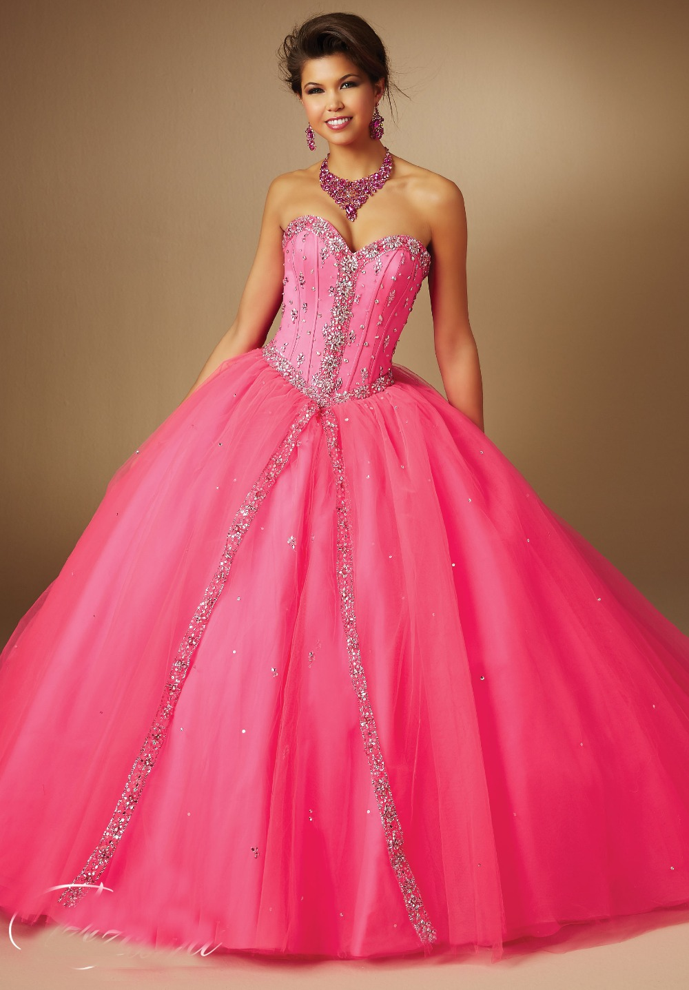 80ecbea059a 2015 Ball Gown Prom Dress Sweetheart Beaded Corset Top Tulle Hot Pink  Quinceanera Dresses With Wrapped Skirt-in Quinceanera Dresses from Weddings    Events ...
