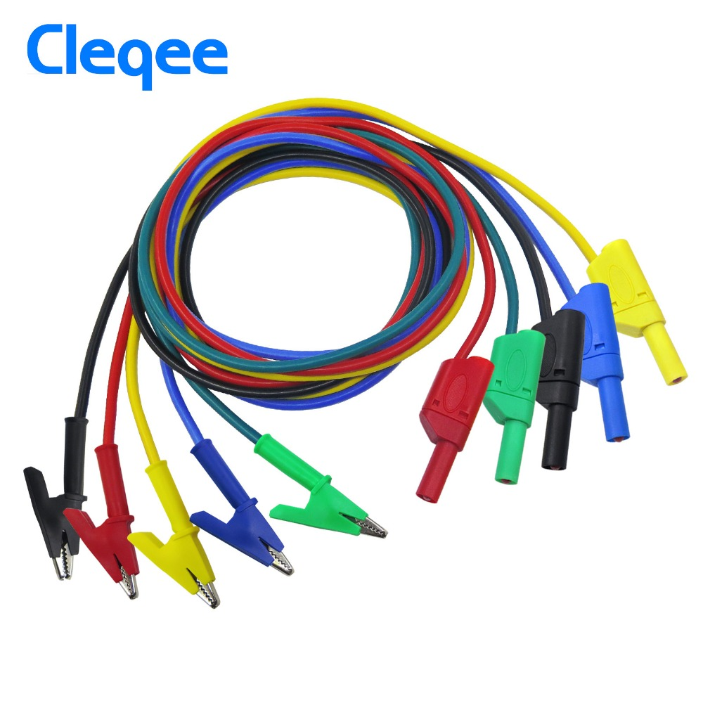 Cleqee P1018A 1M 4mm Banana Plug to Crocodile Alligator Clip Test Probe Lead Wire Cable цена