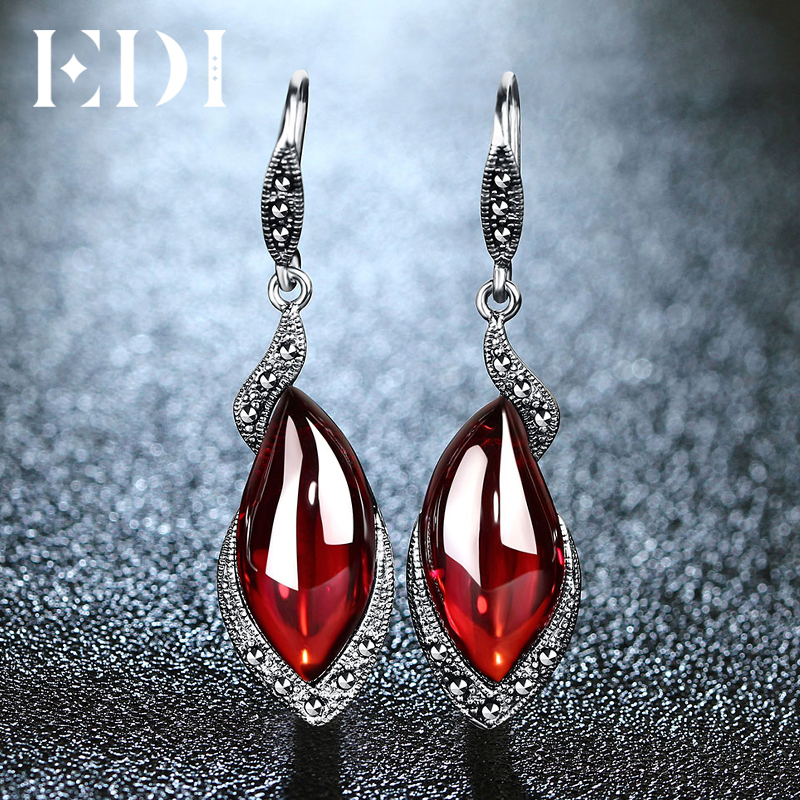 EDI Vintage Gemstone Thai 925 Silver Garnet Wedding Drop Earring 925 Sterling Silver Statement Earrings Women Jewelry