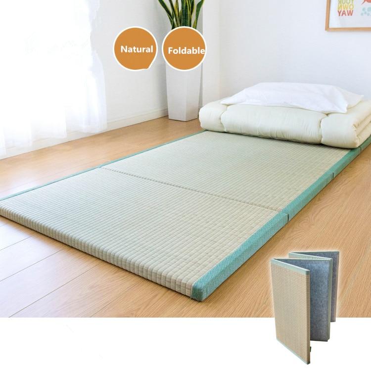 Folding Japanese Traditional Tatami Mattress Mat Rectangle Large Foldable Floor Straw Mat For Yoga Sleeping Tatami Mat Flooring