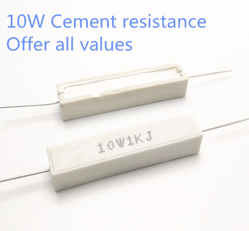 5pcs 10W 27 30 33 36 39 43 47 51 56 Ohm 27R 30R 33R 36R 39R 43R 47R 51R 56R Ceramic Cement Power Resistance Resistor 10W 5%