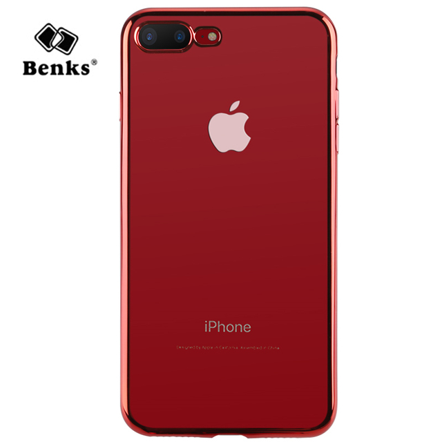 big sale 3b904 281c4 US $7.4 20% OFF|Benks for iPhone 7/ 7Plus Case Cover Electroplating Edge  Clear Transparent TPU Phone Cases for iPhone7 Plus Back Cover Lucky Red-in  ...