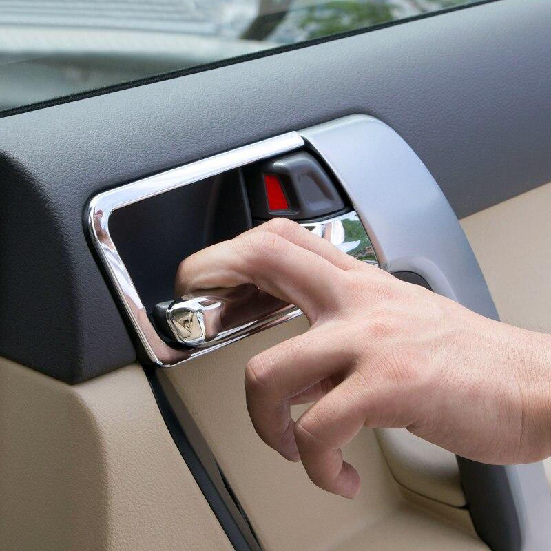 ₩Cromo interior puerta lateral Marcos cubierta 8 unids para Toyota ...
