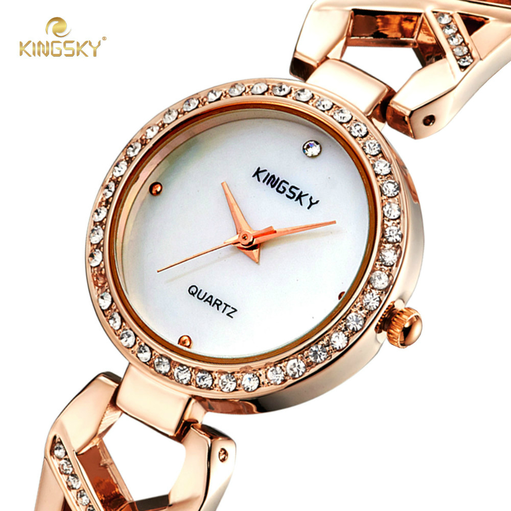 Famous Brand KINGSKY Fashion Casual Female Quartz-watch Alloy Case Watches Simple Women Dress Watch Rose Gold Relogio Feminino 2017 new famous brand rose gold casual quartz watch women watches metal mesh stainless steel dress relogio feminino clock