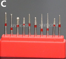 10 Pieces Dental High Speed Bur Diamond Polishing Tooth Preparation Bur Dental Equipment
