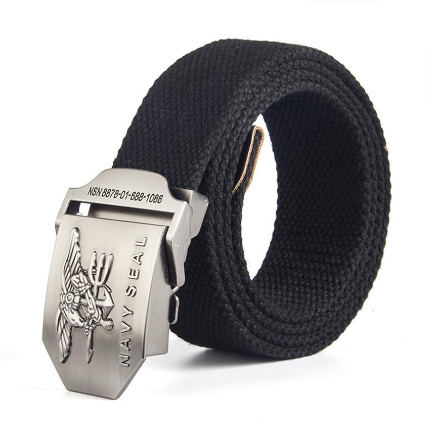 12 Type Canvas Mens Belt Navy Seal Metal Smooth Buckle Striped Belt Male Eagle Alloy Army Belt Long Adjustable Black Waist Belt