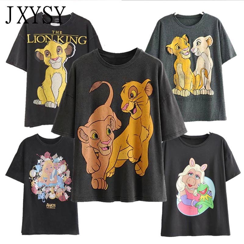 JXYSY Za 2019   T  -  shirt   Women The Lion King Cartoon Print Short Sleeve O-neck Fashion Casual Summer Femme   T     shirt   Women Tops