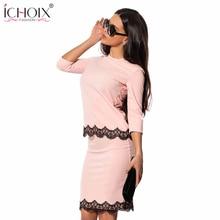 ICHOIX 2019 Women's Fashion Vintage Summer Dresses Solid Lace Sheath O-Neck Slim Work Knee-Length dresses vestido de festa
