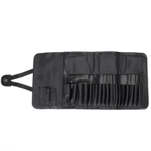 12/18/24 Slots black faux leather Cosmetic Makeup Brushes Case Holder Roll Bag Pouch for Standard length Brush