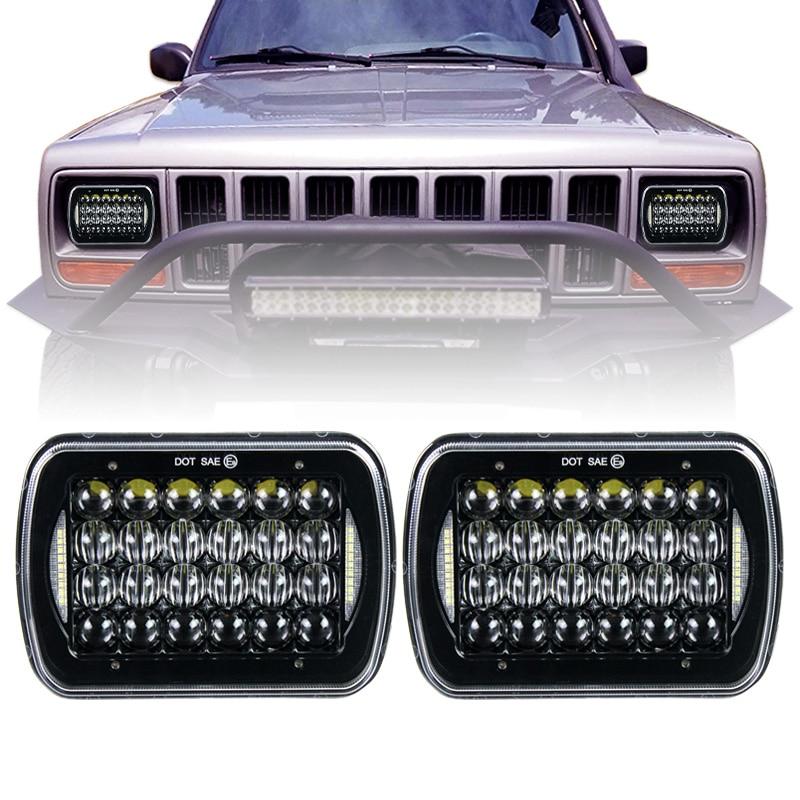 Hi/Lo Beam 6x7 Inch Head Lamp 5x7 Square Led Headlight With DRL For Jeep Wrangler YJ Cherokee XJ