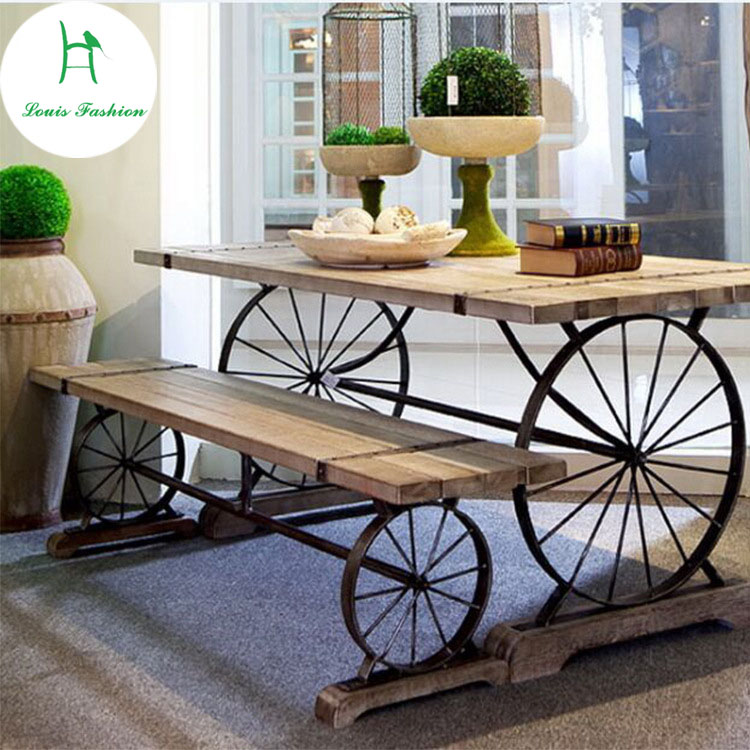American leisure outdoor cafe old restoring ancient ways  wrought iron table solid wood dining table stainless steel sink drain rack