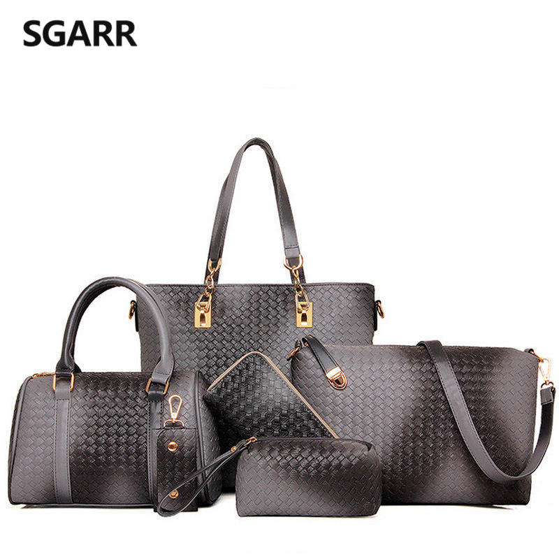 Buy 1 Got 6 Pieces Bag Set Knitting Handbag Women Top-Handle Big Capacity Silver Female Woven Ladies Fashion Shoulder Bag Purse women bag set top handle big capacity female tassel handbag fashion shoulder bag purse ladies pu leather crossbody bag