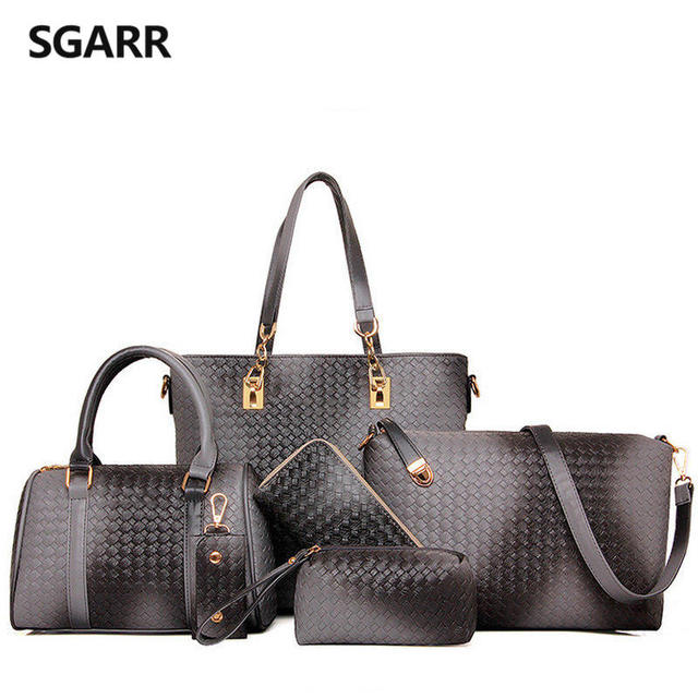 Buy 1 Got 6 Pieces Bag Set Knitting Handbag Women Top-Handle Big Capacity Silver Female Woven Ladies Fashion Shoulder Bag Purse