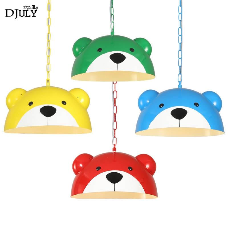 Enfants américains chambre panda pendentif lumières enfants dessin animé pépinière étude suspension lampe créative maison déco cuisine led luminaire