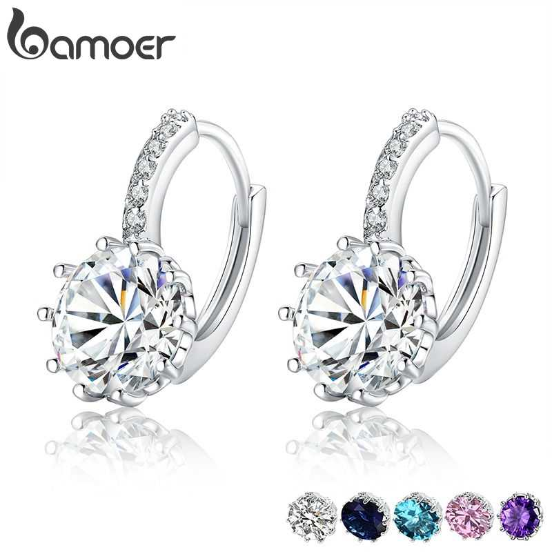 BAMOER Trendy Genuine Silver Color Round Hoop Earrings with AAA Zircon For Women Jewelry Gift YIE083