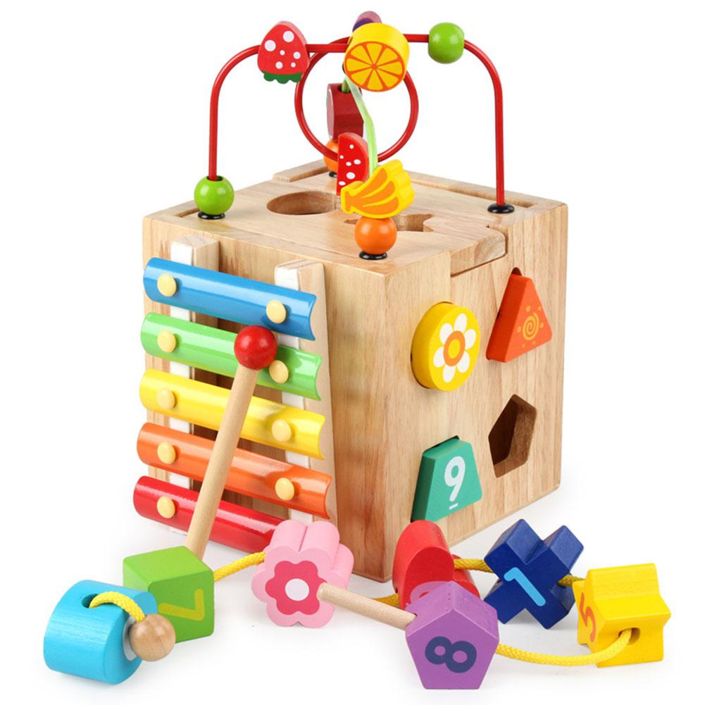 LeadingStar Wooden Cube Bead Maze Roller Coaster with Shape Sorter Clock Knock Piano Kids Learning Educational