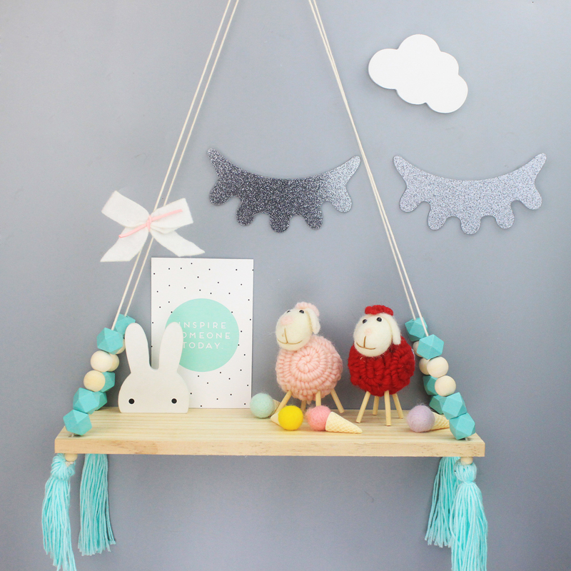 2018 Nordic Style Shelf Room Decor Wooden Swing Handmade Crafts Decorations  Kids Room Wall Ornament Nursery