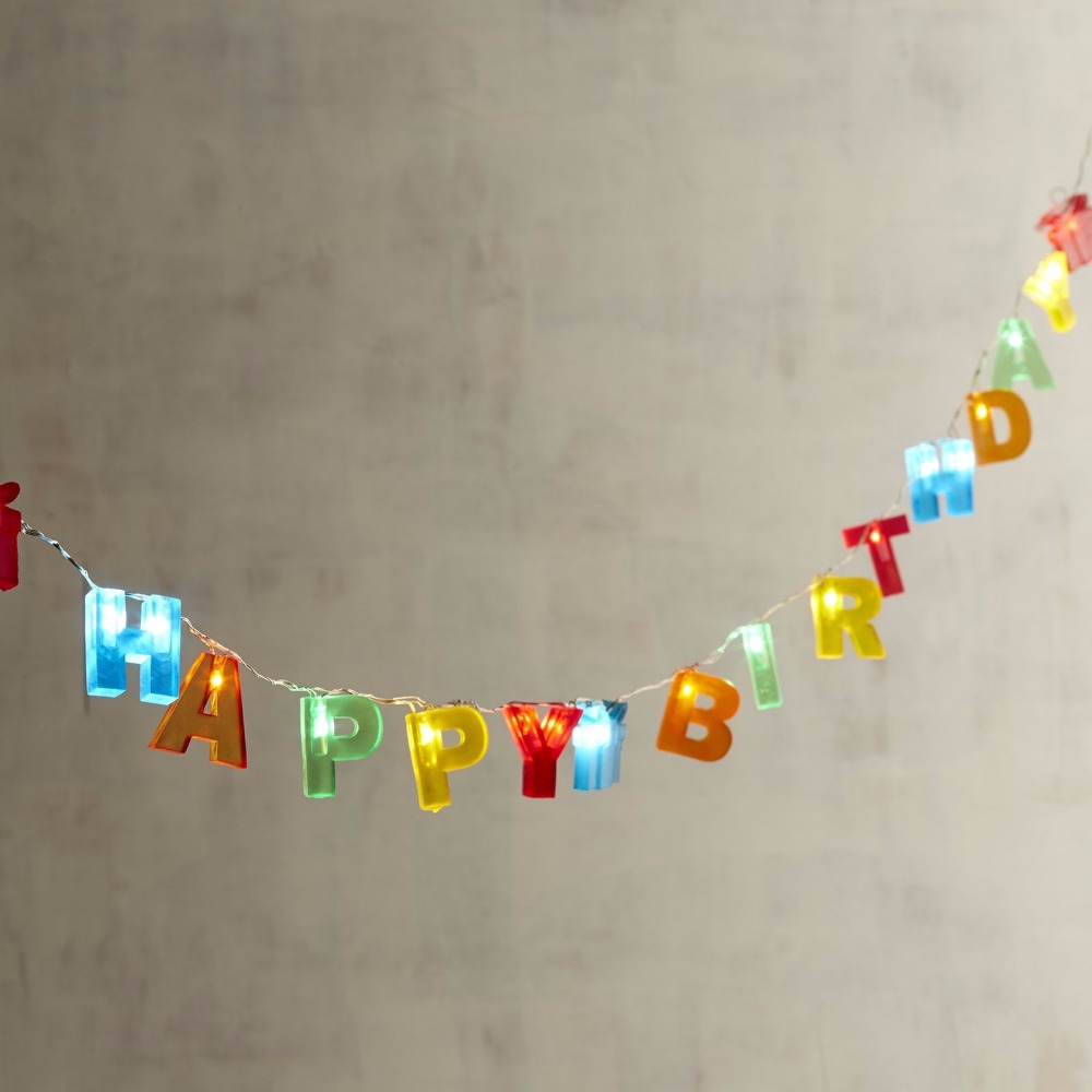Free Shipping Colorful Letter Shaped HAPPY BIRTHDAY LED String Lights Battery Operated Birthday Decorations Party Gift Set