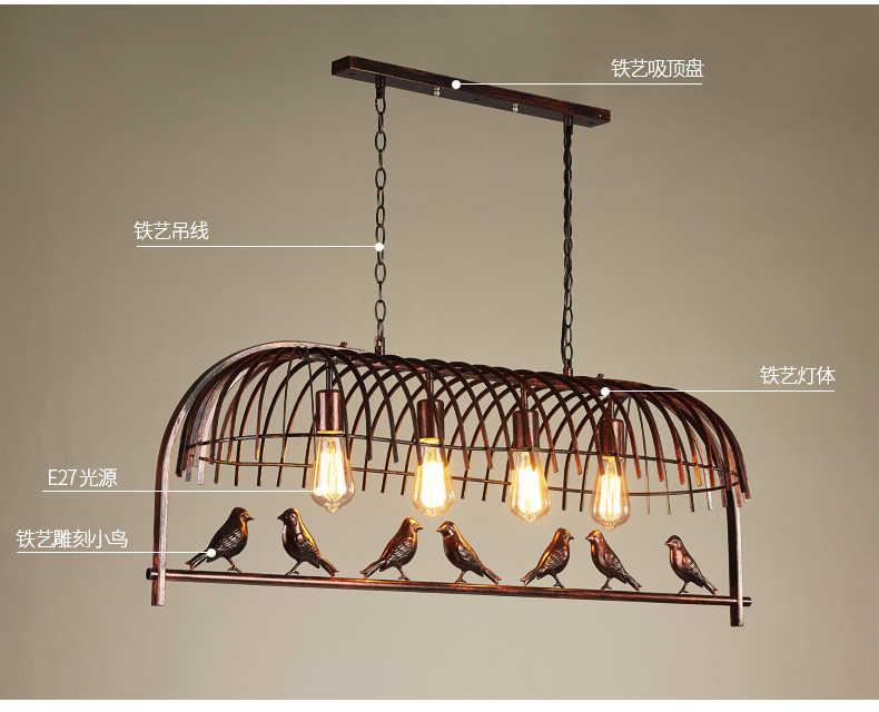 مصباح معلق معدني صناعي على شكل طائر ثريا من الحديد المطاوع شريط إضاءة للمطبخ مصباح جداري lamvillage Industrial ales