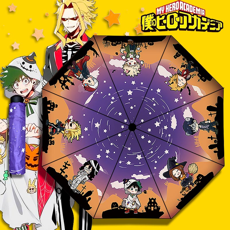 My Hero Academia Folding Umbrella Boku No Hero Academia Rain Umbrellas Parasol For Men Women Cosplay Prop Collectible Collection Novelty & Special Use Costumes & Accessories