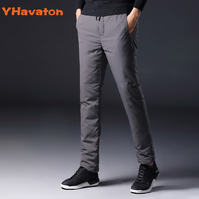 YHavaton Mens 90% White Duck Cold-proof Pants 2020 Winter Straight Outside Wear Business Pants Warm Duck Down Padded Trousers