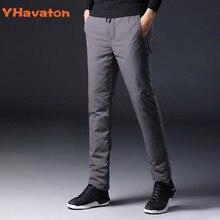 YHavaton Pantalones a prueba de frío para hombre, ropa recta para exteriores, para invierno, cálidos, con plumas de pato, 90%