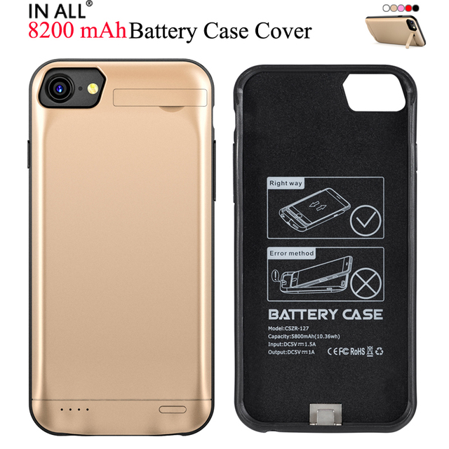 detailed look 83ba2 9c76f US $25.99 |8200 mAh Battery Case For iPhone 8 Plus 5.5'' 7 Plus Rubber  Charger Cover For iPhone 6s Plus Stand Holder Power Bank Fundas-in Battery  ...