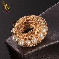 Нимфа пресноводный жемчуг кольца для Для женщин Fine Jewelry барокко Природный жемчуг обручальные подарок на день рождения черный ящик попкорн