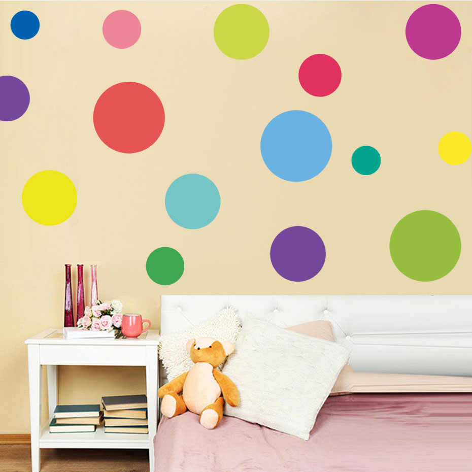 23pcs Multi-size DIY Color Dots Wall Stickers Art Circle Dots Decal Removable Vinyl Polka Wallpaper For Kids Room Home Decor Art