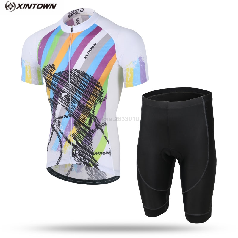 XINTOWN Bretelle Cycling Clothing Man Summer Breathable Cycling Jersey Pant Sets Pro Team Short Sleeve Fox MTB Cycling Clothing|Cycling Sets| |  - title=