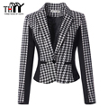 THYY Women Blazers and Jackets 2017 Winter Coat A Buckle Small Suit Slim Houndstooth Women Jacket Plue size Blazer Feminino E82