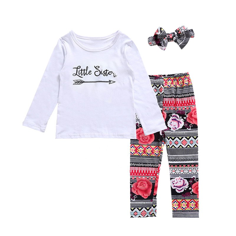 Newborn Infant Toddler 3PCS Sets Baby Girl Clothes Letter Pattern Baby Girl Outfit Tops+Pant+Headband Clothing Set Children