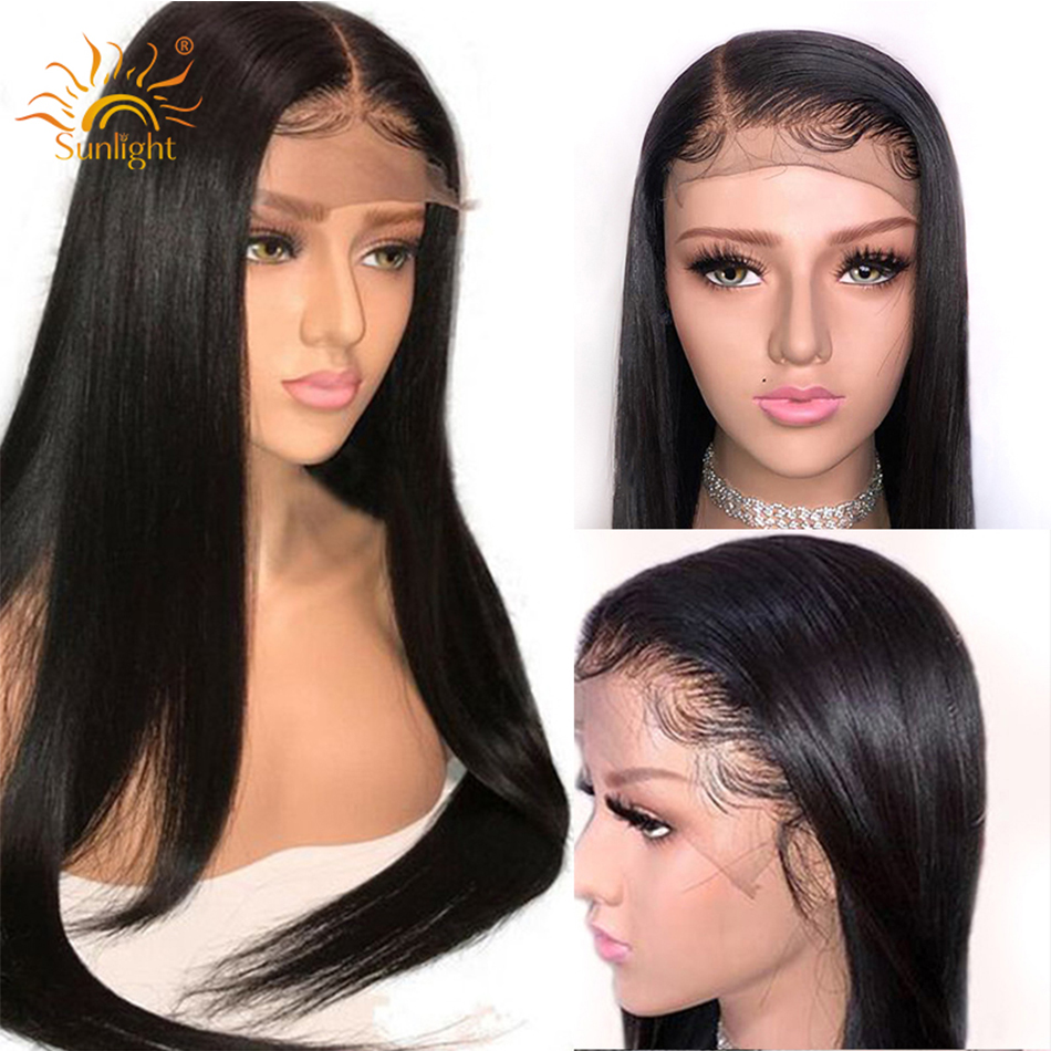 Straight Hair 360 Lace Frontal Wig Pre Plucked With Baby Hair Brazilian Remy Hair Black Sunlight
