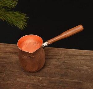 Image 3 - Feic puro cobre artesanal café chá conjunto turco grego árabe cafeteira com alça de madeira cafeteira ibrik para barista