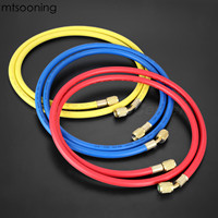 mtsooning 3pcs R134a R22 R410a 1.5m Refrigeration Charging Hoses 1/4 SAE Female Manifold Gauge Set for Air Conditioner