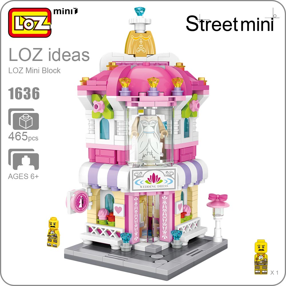 LOZ Mini Block Architecture City View Scene Christmas Toy for Children Mini Street Model Store Shop Bridal Assembly Toys 1636 4pcs lot loz christmas gifts doraemon