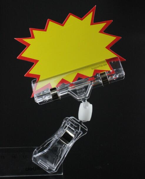 20 Pcs POP Advertising Price Card Tag Clip Label Holder Plastic Sign Holder Card Tag Snap Clamp Label Holder Shelf Talker Clamp