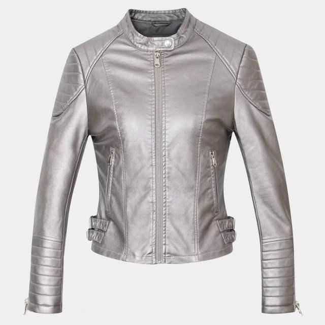 Online Shop 2018 Brown Black Faux Leather Jacket Women Short Slim