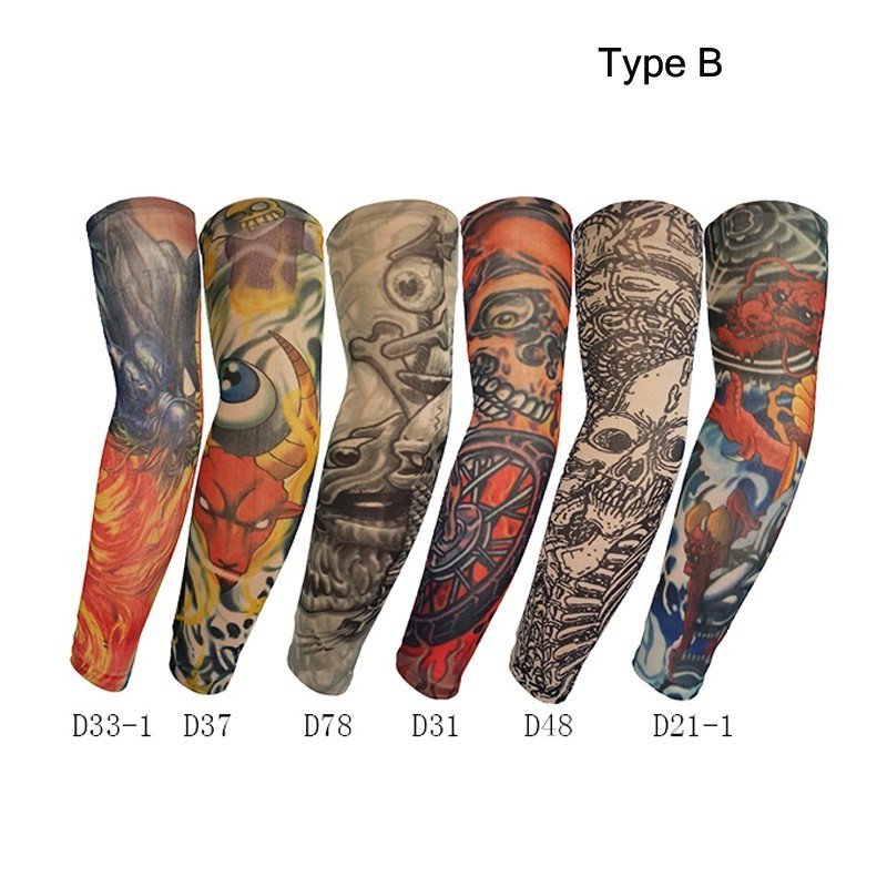 12 Pieces/lot High Quality Fake Temporary Tattoo Arm Sleeves Kit Nylon Unisex Arm Protectors Slip On Sunscreen UV Arm Warmers