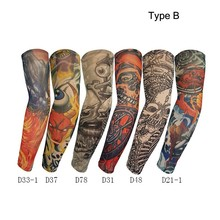 12 pieces/lot High Quality Fake Temporary Tattoo Arm Sleeves Kit Nylon Unisex Arm Protectors Slip On Sunscreen UV Arm Warmers