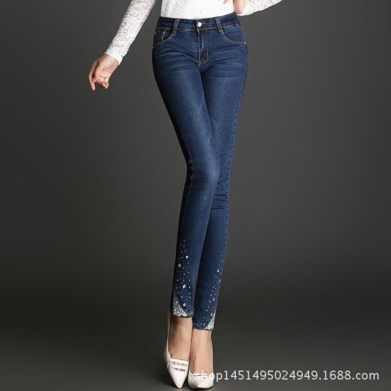 MÃE jeans rasgado para as mulheres New Stretchy Jeans Rasgado 1BL101-105 Clássico meados de Cintura Calças Skinny Lápis Azul Denim 2018 Outono
